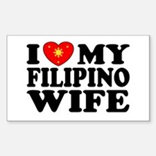 I Love my Filipino Wife Rectangle Decal