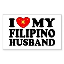 I Love my Filipino Husband Rectangle Decal