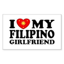 I Love my Filipino Girlfriend Sticker (Rectangul