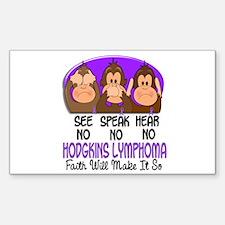 See Speak Hear No H Lymphoma 1 Sticker (Rectangle)