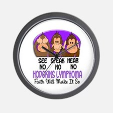 See Speak Hear No H Lymphoma 1 Wall Clock