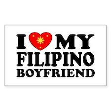 I Love my Filipino Boyfriend Rectangle Decal