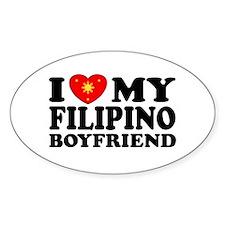 I Love my Filipino Boyfriend Oval Decal