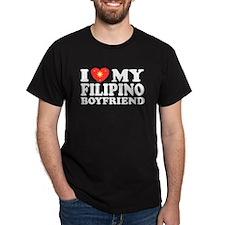 I Love my Filipino Boyfriend Black T-Shirt