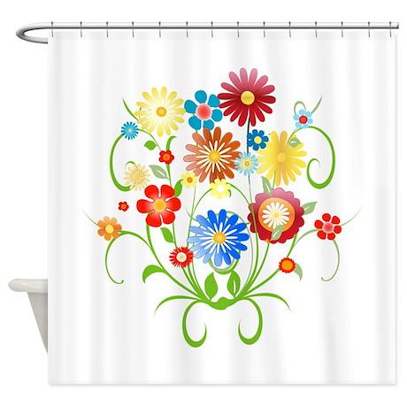 Floral Bright Pattern Shower Curtain By Auslandgifts