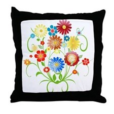 Floral bright pattern Throw Pillow