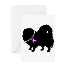 Pomeranian Breast Cancer Supp Greeting Card