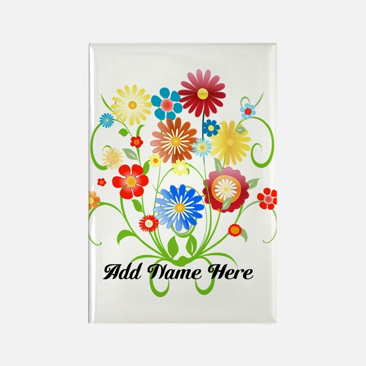 Personalized floral light Rectangle Magnet