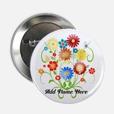 "Personalized floral light 2.25"" Button"