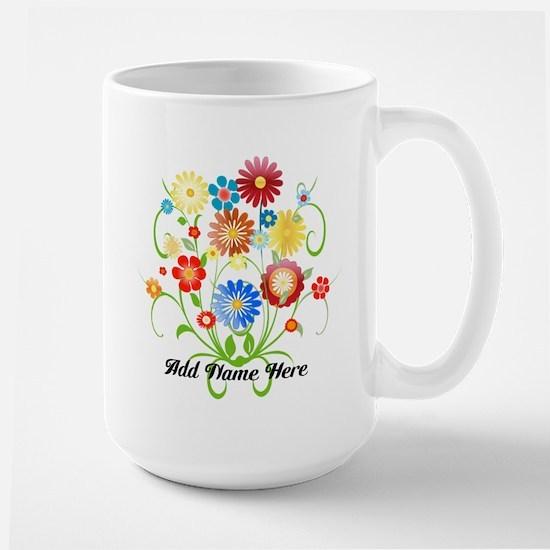 Personalized floral light Large Mug