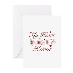Cool Korat Cat breed designs Greeting Cards (Pk of