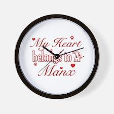 Cool Manx Cat Breed designs Wall Clock