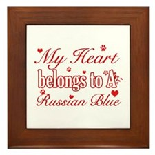 Cool Russian Blue Cat Breed designs Framed Tile