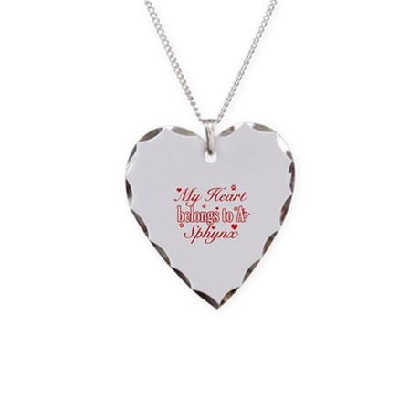 Cool Sphynx Cat Breed designs Necklace Heart Charm