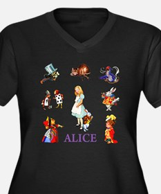 Alice In Wonderland Women's Plus Size V-Neck Dark