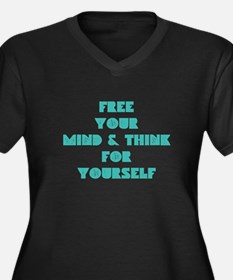 Think for Yourself Women's Plus Size V-Neck Dark T