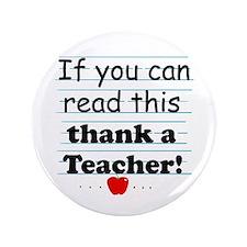 """Thank a teacher 3.5"""" Button"""