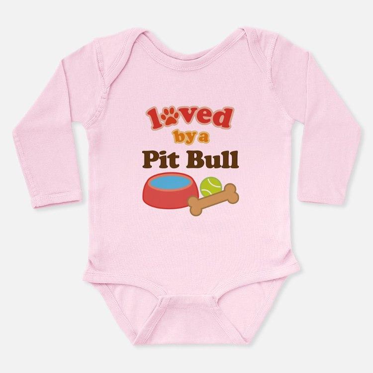Pit Bull Dog Gift Long Sleeve Infant Bodysuit