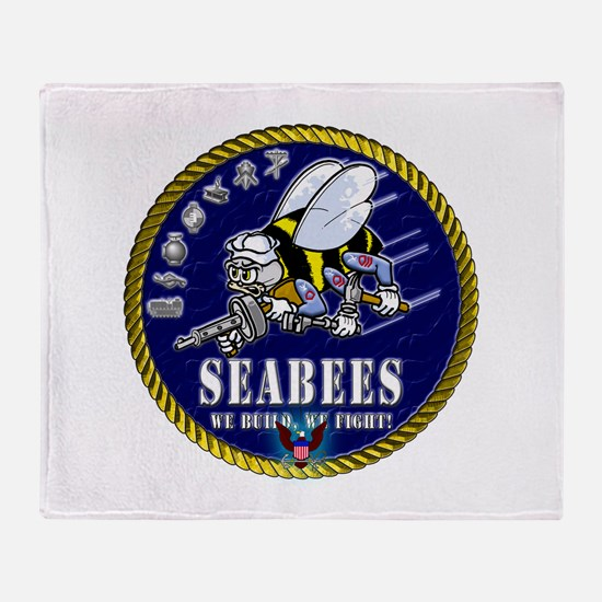 US NAVY Seabees Roped Rates Throw Blanket