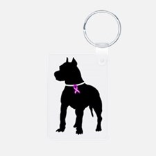 Pitbull Terrier Breast Cancer Keychains