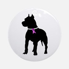 Pitbull Terrier Breast Cancer Ornament (Round)
