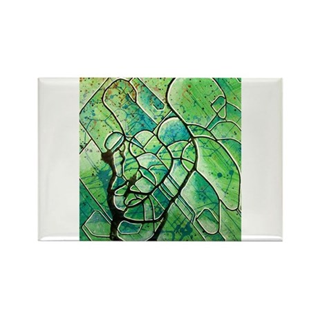 green abstract Rectangle Magnet (10 pack)