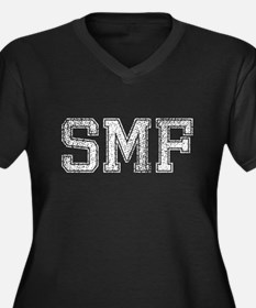 SMF, Vintage, Women's Plus Size V-Neck Dark T-Shir