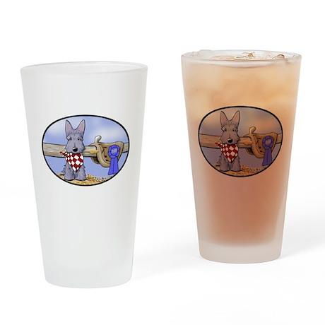 Western Scottie Dog Drinking Glass