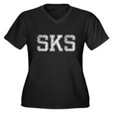 SKS, Vintage, Women's Plus Size V-Neck Dark T-Shir