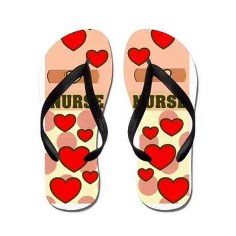 ff NURSE HEARTS ORANGE.PNG Flip Flops