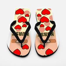 ff NURSE HEARTS ORANGE.PNG Flip Flops