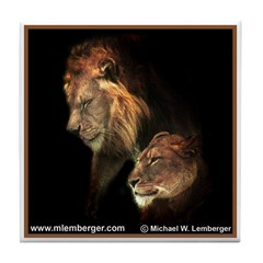 Pair of Lions Tile Coaster