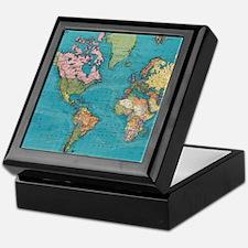 Vintage Map of The World (1897) Keepsake Box