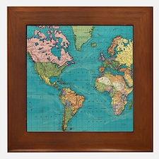 Vintage Map of The World (1897) Framed Tile