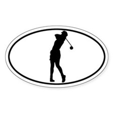 Golfer - Woman Oval Decal