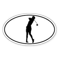 Golfer - Woman Oval Decal