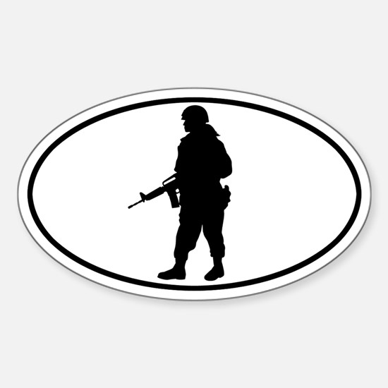 Soldier - Woman Oval Decal