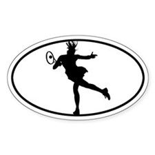 Tennis - Woman Oval Decal