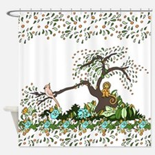 Jungle Monkey White Shower Curtain