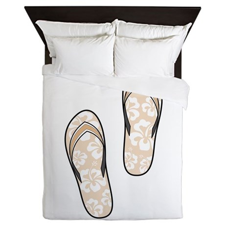 Peach Flops Queen Duvet