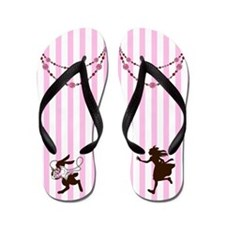 Alice in Wonderland Flip Flops Chasing Rabbit