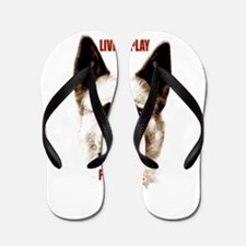 Pomeranian head dog art Flip Flops
