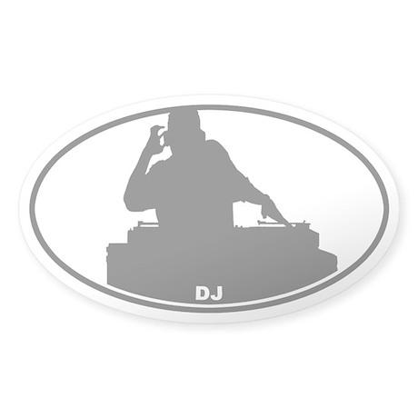DJ - Night Club - Gray on Clear Oval Sticker