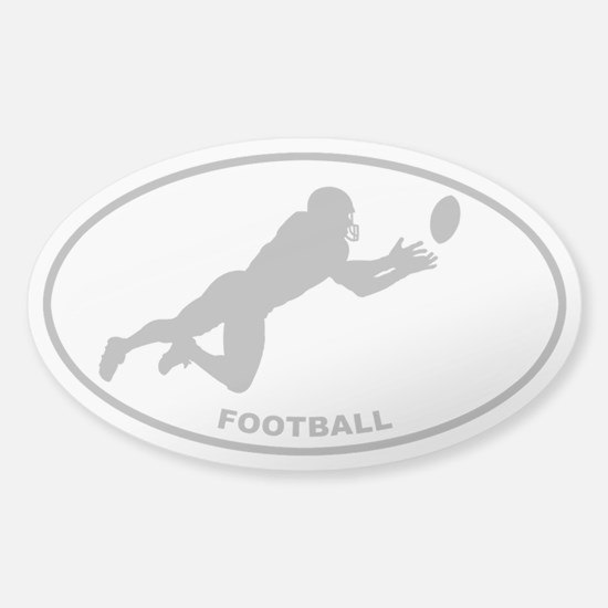 Football Player - Gray on Clear Oval Decal