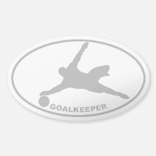 Soccer - Goalkeeper - Gray on Clear Oval Decal