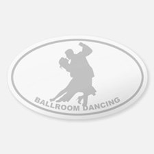 Ballroom Dancing - Gray on Clear Oval Stickers