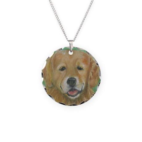 Golden Retriever Necklace Circle Charm