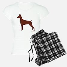Red Doberman Silhouette Pajamas