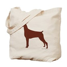 Red Doberman Silhouette Tote Bag