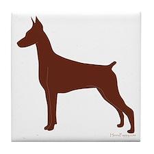 Red Doberman Silhouette Tile Coaster